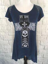 Vocal Womens Tunic Blue Black Mineral Wash W/ Crystal Stud Cross Skull EUC Sz S