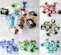 SQUARE SILVER FOIL GLASS  BEADS 12mm 10 PER BAG COLOUR CHOICE