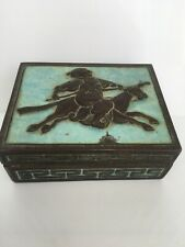 More details for rare antique eastern asian chinese warrior & horse turquoise enamel copper box