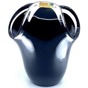 Vintage Rare Fostoria Roulette Basket Pulled Black Art Glass Vase