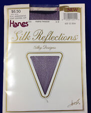 Purple Silky Herringbone Stockings Hanes Silk Reflections Twilight Pantyhose AB