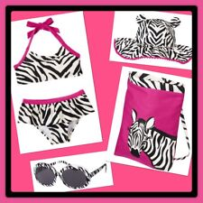 NWT 3 Gymboree WILD FOR ZEBRA Swimsuit, SUN HAT, Beach Bag, Sunglasses 4pc SET!