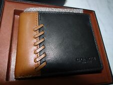 Coach Mens Rip and Repair Slim Billfold Wallet In Saddle & Black # 75212 $150.00