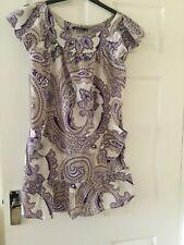 Ladies Beige Purple Size 14 Loose Casual Dress