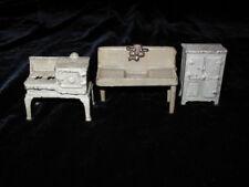 Antique Dollhouse Miniature KILGORE Metal Furniture 3 Pieces Kitchen CAST IRON