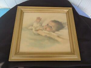 Vintage antique Bessie Pease gutmann  Awakening Baby gold framed Print picture