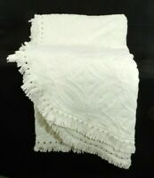 """Vintage Cotton Chenille Bedspread Ivory Twin 74"""" x 105"""" Crown Crafts USA"""