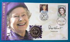 21.4.2001 75th Cumpleaños FDC Firmado reinas Sir Rex Hunt - 2001 moneda de las Malvinas 50p