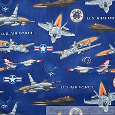 BonEful Fabric FQ Cotton Quilt Navy Blue Red White Air Force USA Airplane Badge