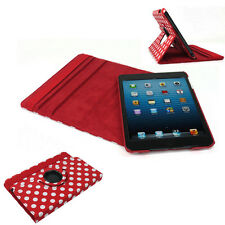 CASE COVER SWIVEL STAND WAKE/SLEEP PU RED WHITE DOT IPAD 2 2ND 3RD 4TH GEN