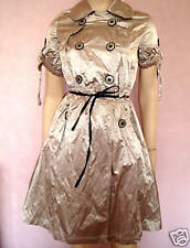 LADIES BEIGE GOLD METALLIC SATEEN MILITARY STYLE TRENCH COAT DRESS size 12