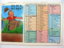 Linen Postcard I'm in a Hurry Tickbox Metrocraft 45517 New