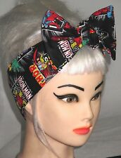 Head scarf Marvel Super hero Bow Hair wrap Pinup Comic Pin up Rockabilly Black