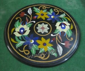 18 Inches Black Corner Table Top Exclusive Design Inlaid Patio Coffee Table Top