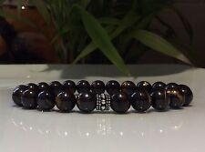 Mens bracelet solid Silver Bali bead Tigers Eye Iron Gemstone beads CUSTOM  FIT