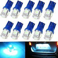 JDM ASTAR 10x T10 5050 SMD Ice Blue LED License Plate Light Bulb 194 168 W5W 921