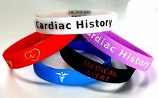 5x CARDIAC history Wristband MEDICAL AWARENESS ALERT BRACELET Glow in the Dark