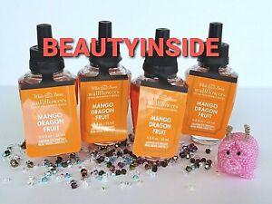 (4) Bath and Body Works MANGO DRAGONFRUIT Wallflowers Home Fragrance Refill NEW