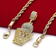 "Basketball Iced-Out Micro Pendant Hip-Hop Chain Gold Tone 24"" Inch Rope Necklace"