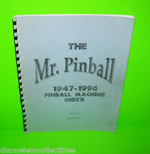 The Mr Pinball 1947-1996 Pinball Machine Index Book Covers Flipper Pinball Games