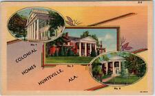 HUNTSVILLE, Alabama  AL    Multi View  COLONIAL HOMES  ca 1940s Linen  Postcard