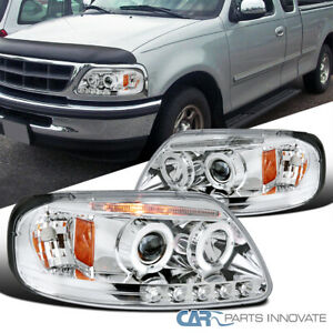 For Ford 97-03 F150 Expedition Clear LED DRL Halo Projector Headlights Head Lamp