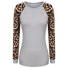 Meaneor Frauen Mode lässig Raglan Langarm Leopard Patchwork T-Shirt JDDE 02