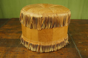60er Vintage Stool Seat Cushion Pouf Braun Leather Ottomane Footrest 2