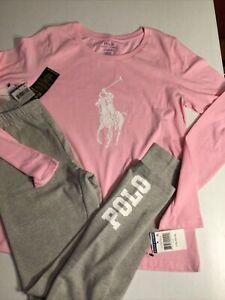 Polo Ralph Lauren Girl's Large 12 14 Legging & Shirt Gray Pink Big Pony Polo