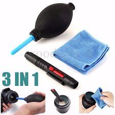 3 En1 Lente Limpieza Kit Soplador Polvo Pen Paño Para DSLR VCR HC Cámara /Canon