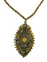 Vintage Chunky Statement Pendant Necklace Gold Tone Thick Chain