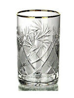 Russian Crystal Glass Hot Tea Glass, fits Metal Holder Podstakannik 24K Gold Rim