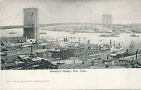 NEW YORK CITY–Brooklyn Bridge and Surrounding Buildings and Boats–udb (pre 1908)