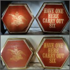 RARE Vtg 60s 70s Budweiser Beer Lights Signs Hexagonal Promo Retail Advertising