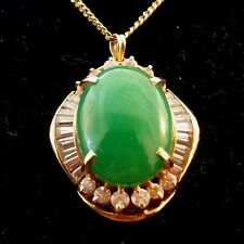 """Vintage Fancy 14k Oval-shaped Cabochon Chrysoprase Jade CZS Pendant and18"""" Chain"""