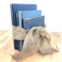 Vintage Book Decor Blue Burlap Bundle Decorative Book Lot Rustic Home Book Lot