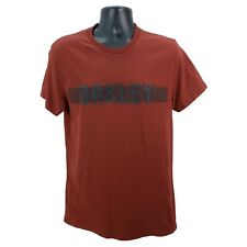 OAKLEY Men's L Large Slim Fit Short Sleeve Spell Out Graphic T-Shirt Rust Cotton