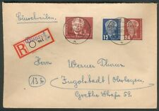 DDR R-Brief 251+252+254 Pieck 12+24 Pf mit 2 DM Not-R-Zettel GÜSTROW 19.6.1950