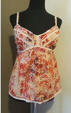 Cynthia Steffe Tank Top sz 4 Floral Eyelet Print crochet Fall colors EUC
