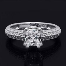 Sterling Silver Princess Cut Womens Engagement Ring White Bridal Ring 1.5 Carat