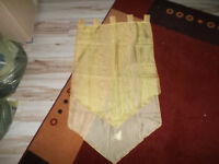 Schlaufengardine gelb gestreift 60 cm breit 2 Lagen mit Bommel