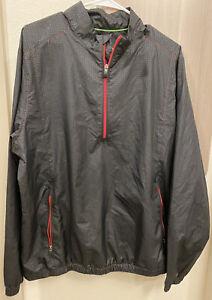 Men's Adidas Golf Climaproof 1/4 Zip Long Sleeve Pullover Jacket Black Large