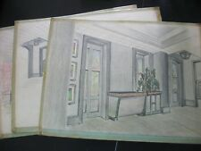 "Architectural Decor Pencil Drawings, Signed Elwood ""Woody"" Wertz 1952 Art boards"