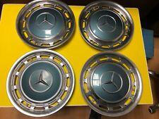 Mercedes Benz W107 W114 W116 W123 W126 14 inch Hubcap Set #2 with Clips Genuine