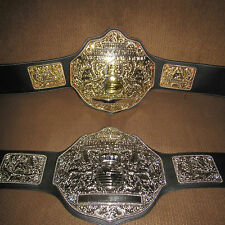 "Fandu Belts""2""Adult Replica Big Gold WORLD CHAMPION BELT""Ric Flair""NWA/wwe/wwf"