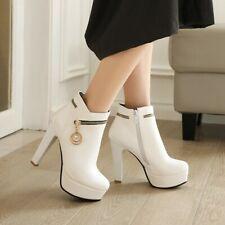Women Ankle Boots Platform Block Heel Punk Gothic Party Shoes Side Zipper Shoes
