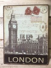 """""""LONDON"""" Tin Travel Sign Antique Look Travel Sign Postcards and Stamp Style"""