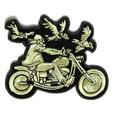 Embroidered 3 Vultures & Biker Sew or Iron on Patch Biker Patch