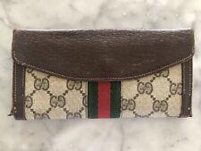 GUCCI 100% Auth Vintage Brown GG Monogram Web Stripe Continental Wallet