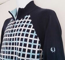FRED PERRY Cardigan Sweater - 100% Cotton Zip Front - Mens Large